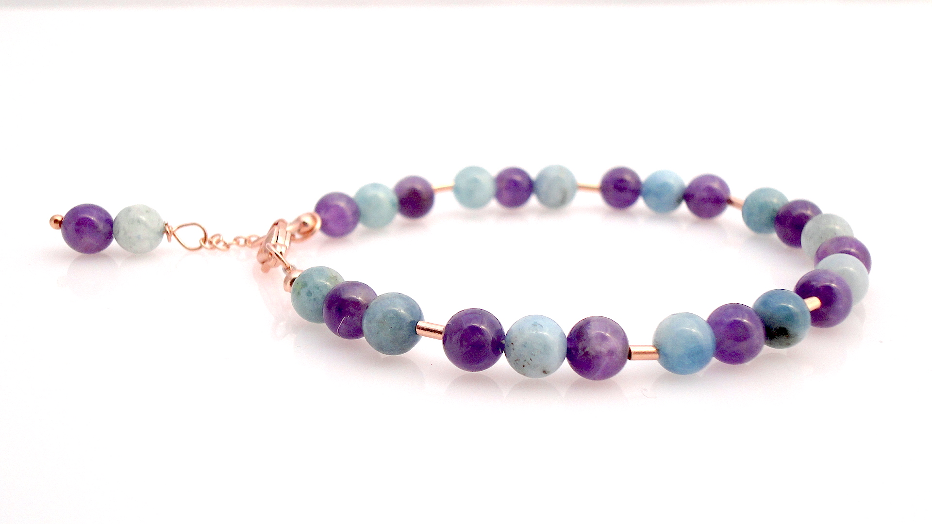 Serenity Collection Amethyst Milky Aquamarine And Rose Gold Bracelet
